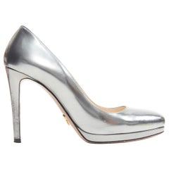 PRADA metallic mirrored silver leather round toe platform pump EU36