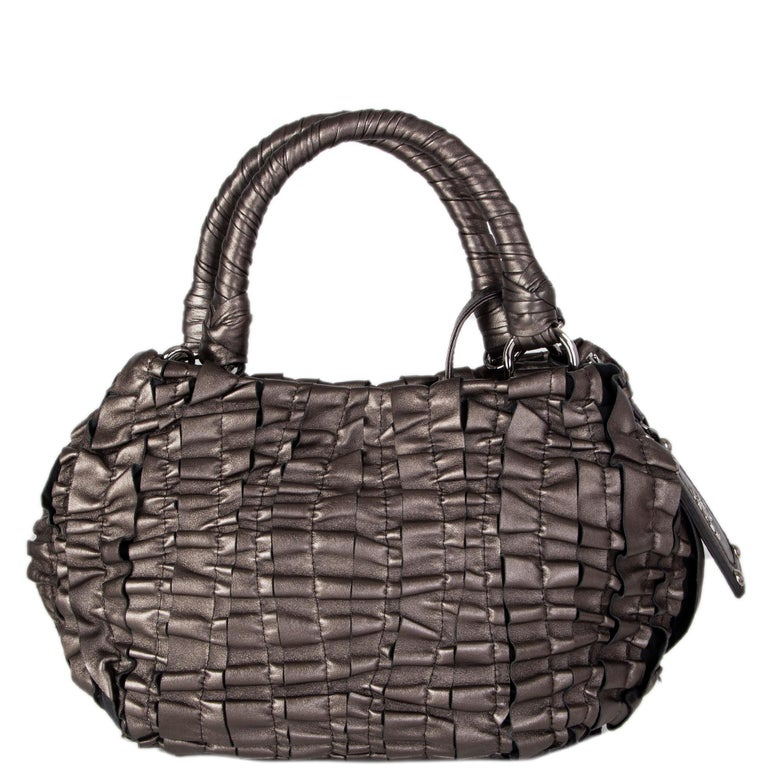 Black PRADA metallic pewter RUCHED leather Small Shoulder Bag For Sale