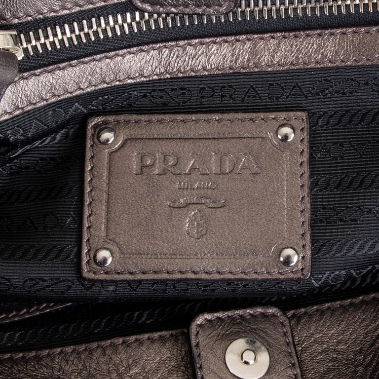 PRADA metallic pewter RUCHED leather Small Shoulder Bag For Sale 2
