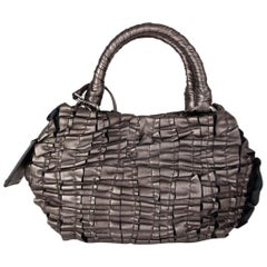 PRADA metallic pewter RUCHED leather Small Shoulder Bag