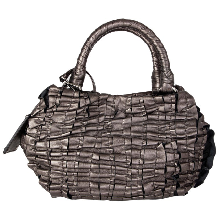 PRADA metallic pewter RUCHED leather Small Shoulder Bag For Sale