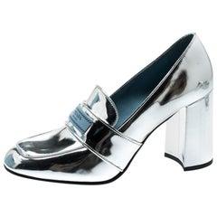 Prada Metallic Silver Leather Block Heel Loafer Pumps Size 37