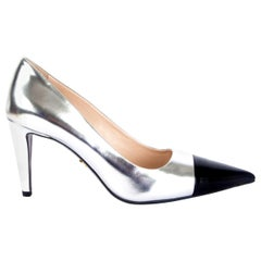 PRADA metallic silver leather Pointed-Toe Pumps Shoes 38