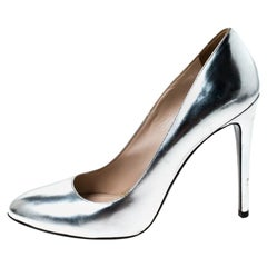 Prada Metallic Silver Leather Pumps Size 38.5