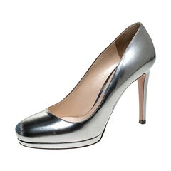 Prada Metallic Silver Leather Round Toe Platform Pumps Size 37