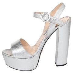 Prada Metallic Silver Saffiano Leather Ankle Strap Platform Sandals Size 36.5