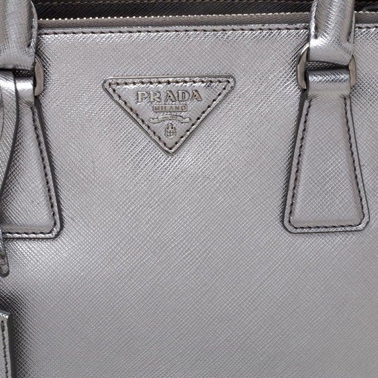 Prada Metallic Silver Saffiano Lux Leather Mini Double Zip Tote For Sale 6