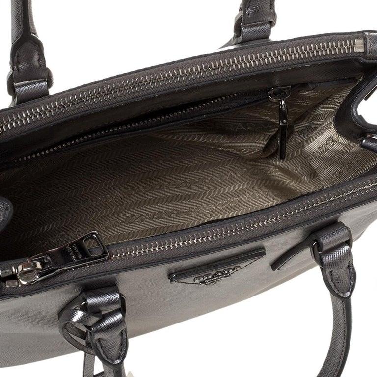 Prada Metallic Silver Saffiano Lux Leather Mini Double Zip Tote For Sale 8