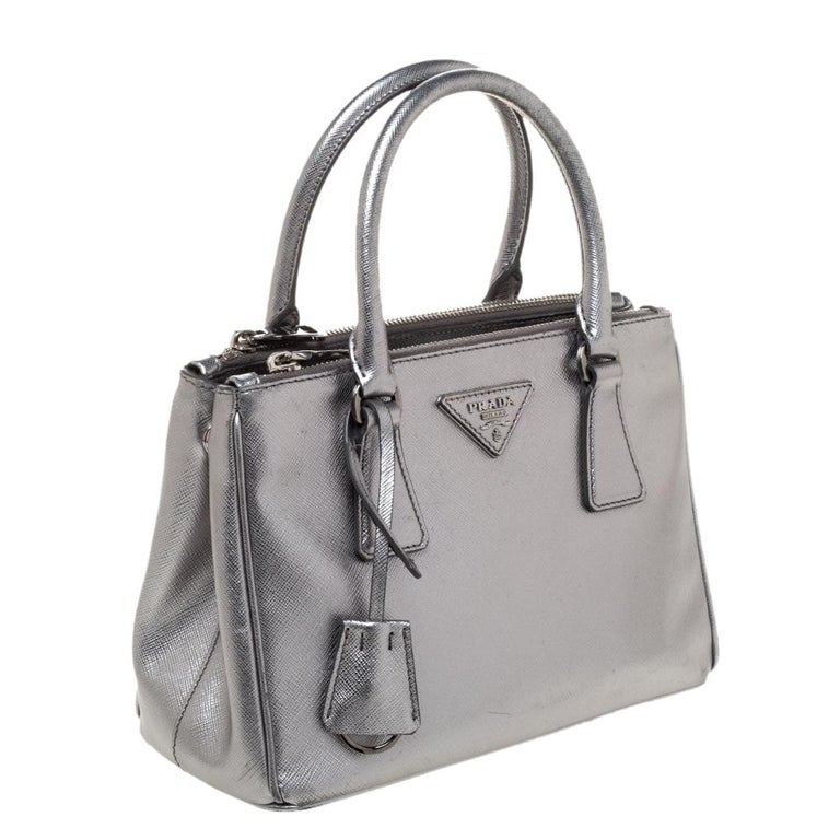 Women's Prada Metallic Silver Saffiano Lux Leather Mini Double Zip Tote For Sale