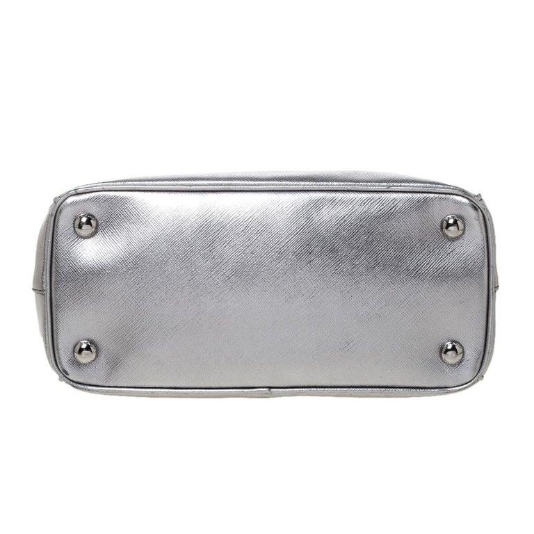 Prada Metallic Silver Saffiano Lux Leather Mini Double Zip Tote For Sale 1