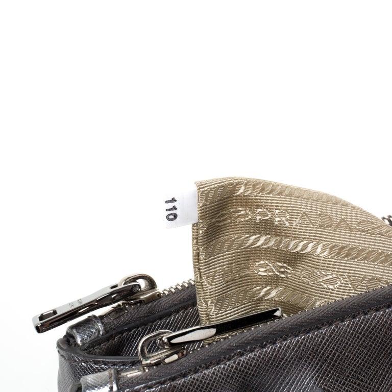 Prada Metallic Silver Saffiano Lux Leather Mini Double Zip Tote For Sale 2