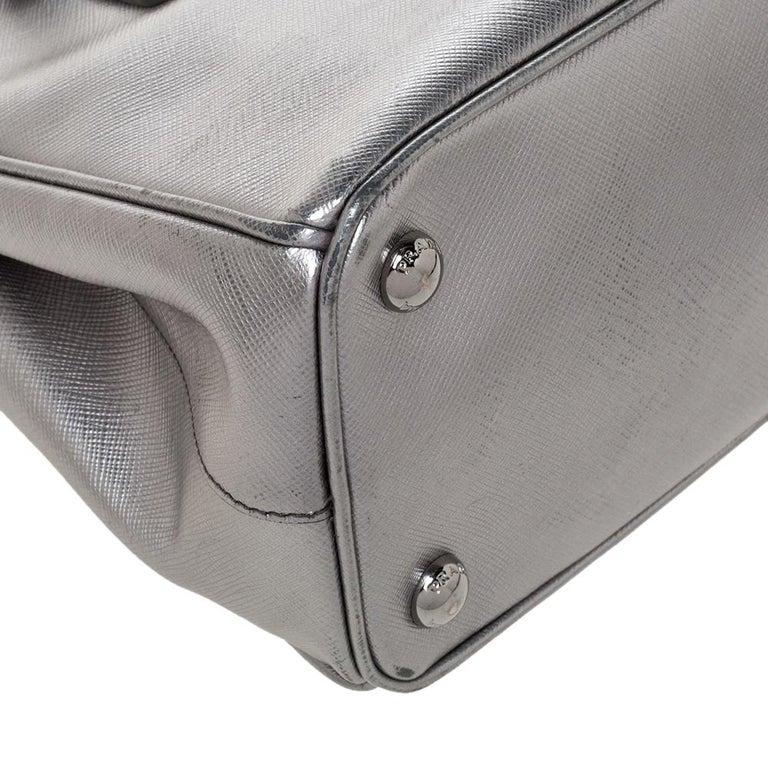 Prada Metallic Silver Saffiano Lux Leather Mini Double Zip Tote For Sale 3
