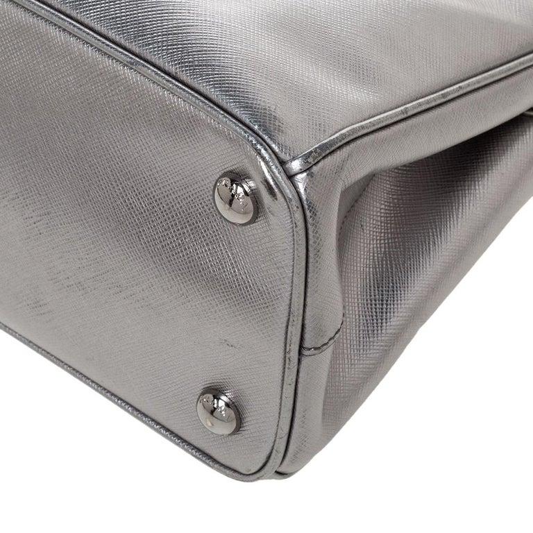 Prada Metallic Silver Saffiano Lux Leather Mini Double Zip Tote For Sale 4
