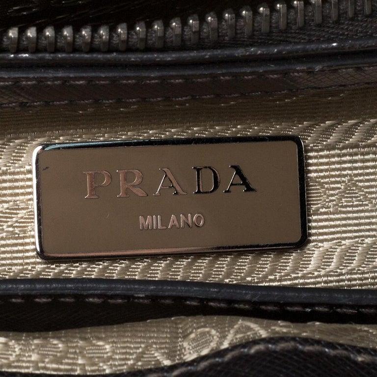 Prada Metallic Silver Saffiano Lux Leather Mini Double Zip Tote For Sale 5