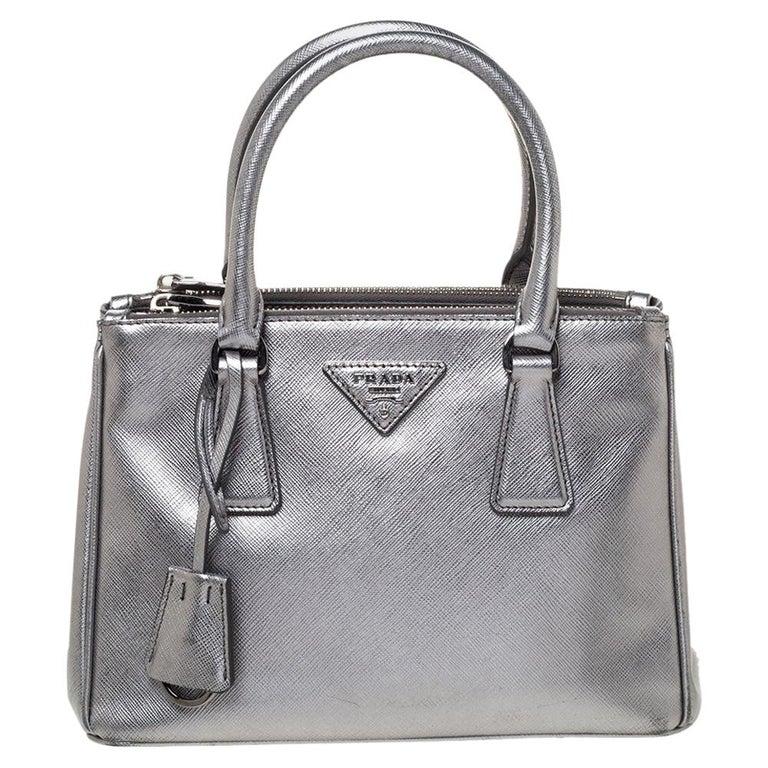 Prada Metallic Silver Saffiano Lux Leather Mini Double Zip Tote For Sale