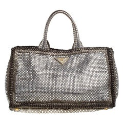 Prada Metallic Silver Woven Leather Tote