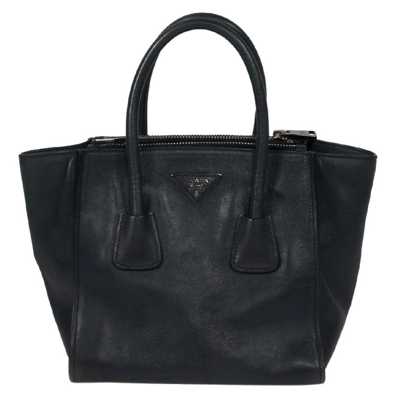 Prada Midnight Blue Glace Calfskin Leather Twin Pocket Double Handle Tote