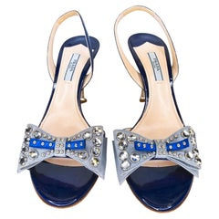 Prada Midnight Blue Patent Slingback High Heel Sandals