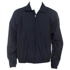 Prada Midnight Blue Zip Front Harrington Jacket L