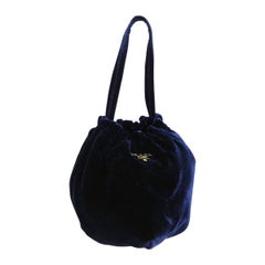 Prada Midnight Navy Blue Velvet Pochette Mini Evening Top Handle Satchel Bag