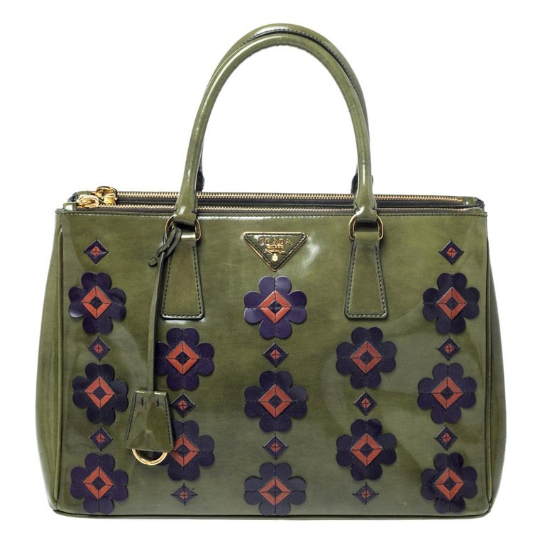 Prada Military Green Fiori Patent Leather Medium Double Zip Tote For Sale