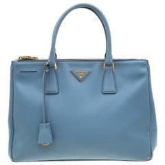 Prada Mint Blue Saffiano Lux Leather Medium Double Zip Tote