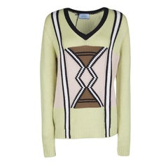 Prada Mint Green Geometric Patterned V-Neck Cashmere Sweater M