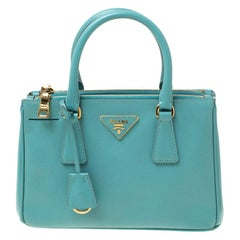 Prada Mint Green Saffiano Lux Leather Mini Double Zip Tote