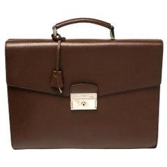 Prada Mocha Brown Leather Work Briefcase