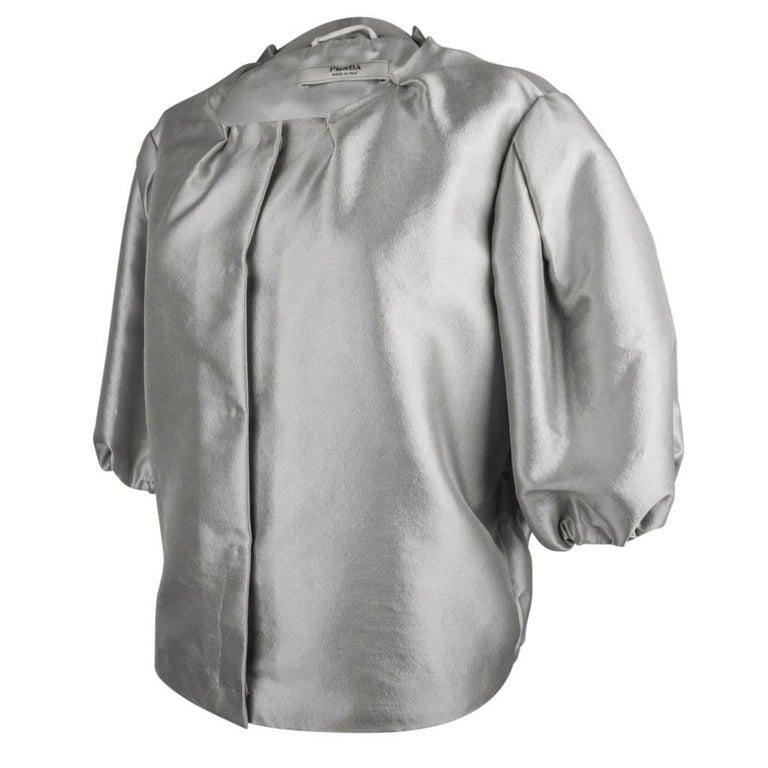 Women's Prada Modern Jacket Soft Silver Elbow Area Sleeve 42 /  8 For Sale