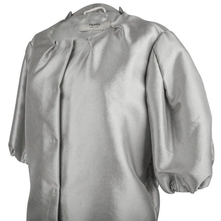 Prada Modern Jacket Soft Silver Elbow Area Sleeve 42 /  8 For Sale 1