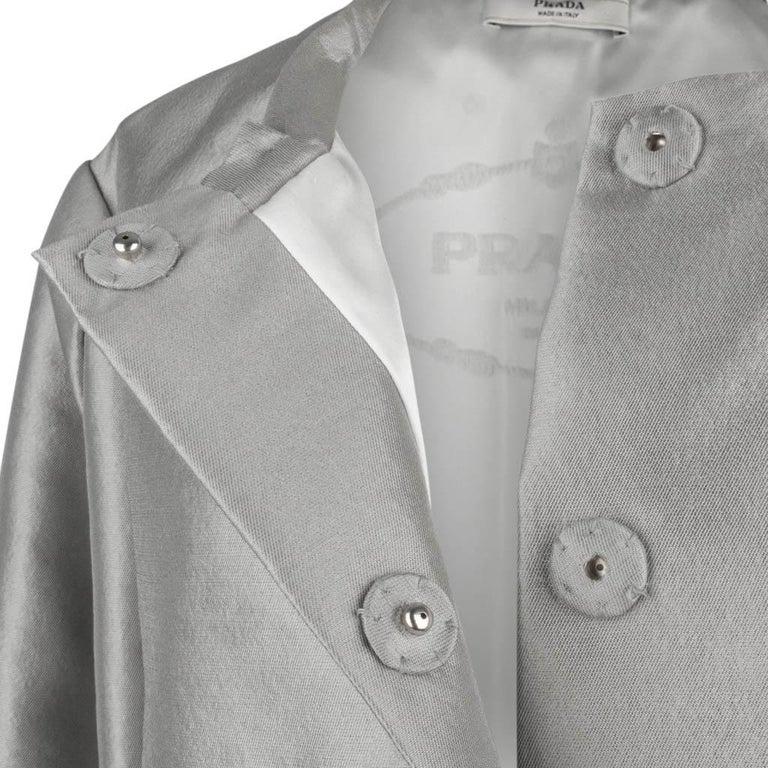 Prada Modern Jacket Soft Silver Elbow Area Sleeve 42 /  8 For Sale 2