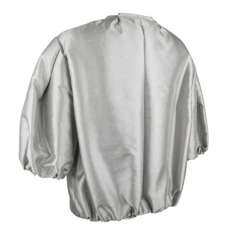 Prada Modern Jacket Soft Silver Elbow Area Sleeve 42 /  8 For Sale 4