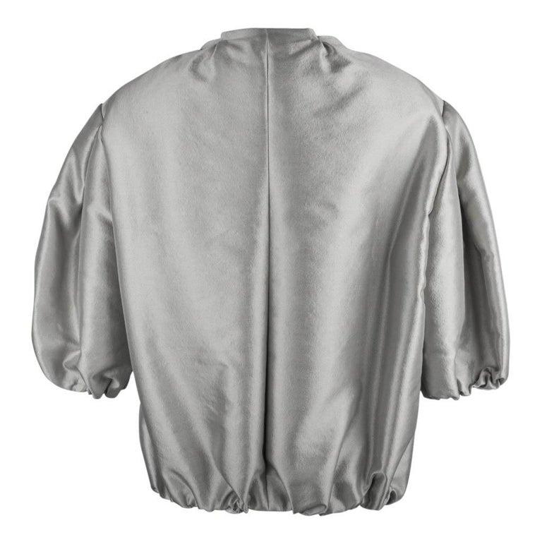 Prada Modern Jacket Soft Silver Elbow Area Sleeve 42 /  8 For Sale 5
