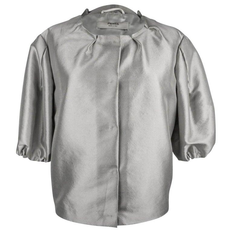 Prada Modern Jacket Soft Silver Elbow Area Sleeve 42 /  8 For Sale