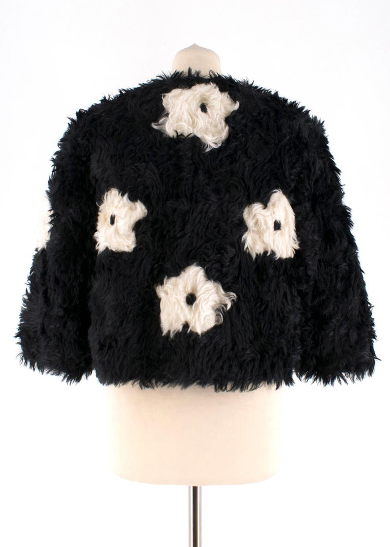 Prada Mohair Blend Faux Fur Jacket with Daisy Print S 42 In Excellent Condition For Sale In London, GB