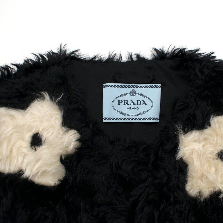Women's Prada Mohair Blend Faux Fur Jacket with Daisy Print S 42 For Sale