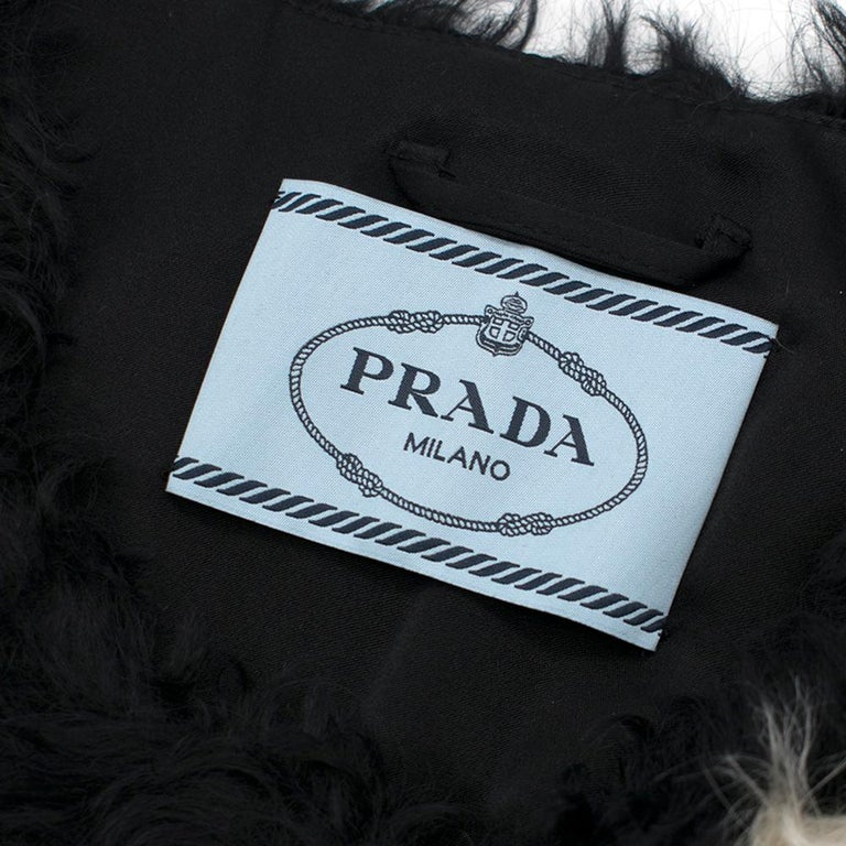 Prada Mohair Blend Faux Fur Jacket with Daisy Print S 42 For Sale 1
