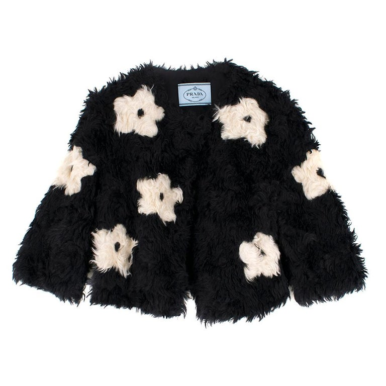 Prada Mohair Blend Faux Fur Jacket with Daisy Print S 42 For Sale 2