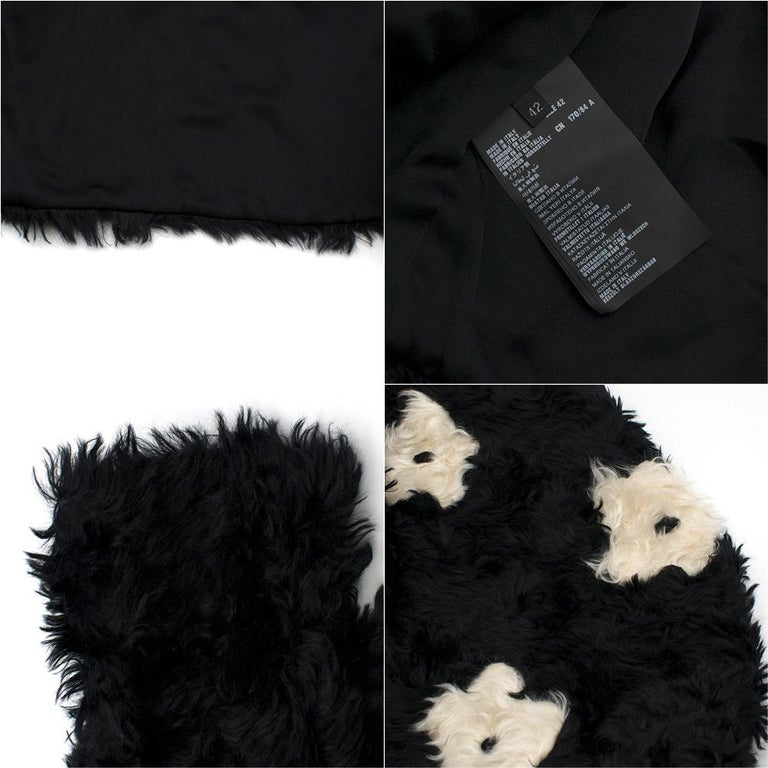 Prada Mohair Blend Faux Fur Jacket with Daisy Print S 42 For Sale 3