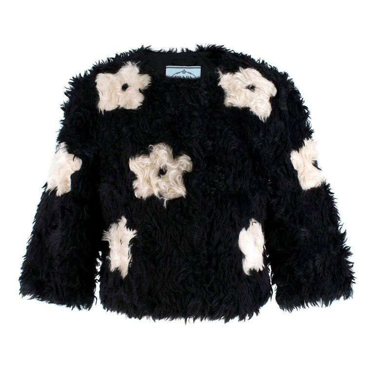 Prada Mohair Blend Faux Fur Jacket with Daisy Print S 42 For Sale
