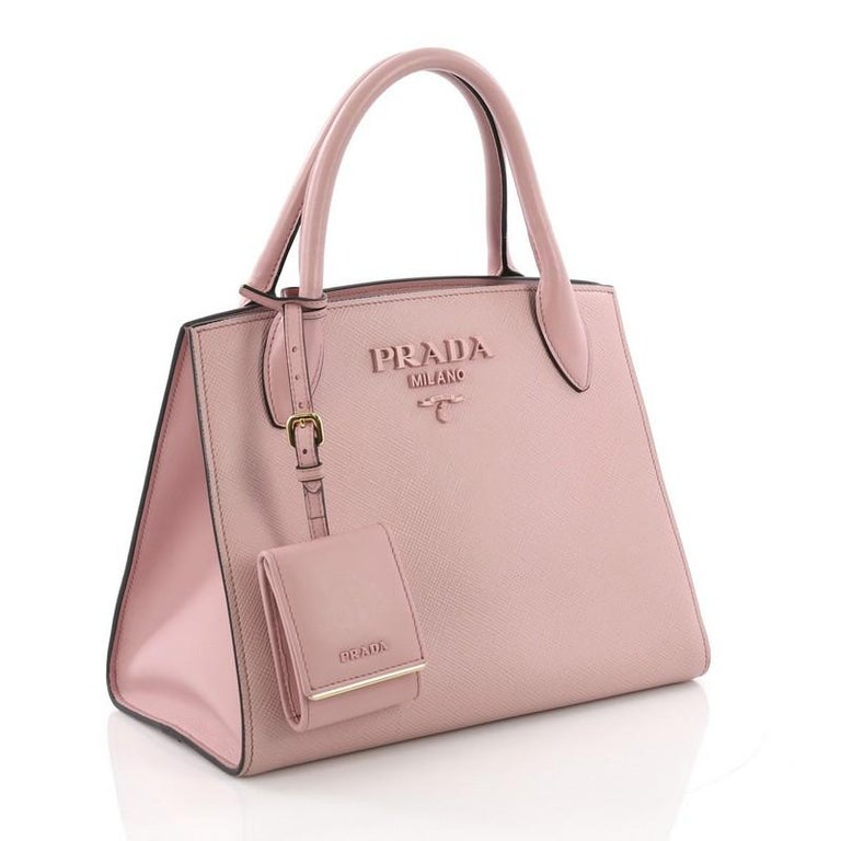 Brown  Prada Monochrome Tote Saffiano Leather with City Calfskin Small For Sale