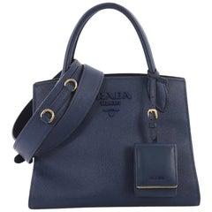 Prada Monochrome Tote Saffiano Leather with City Calfskin Small