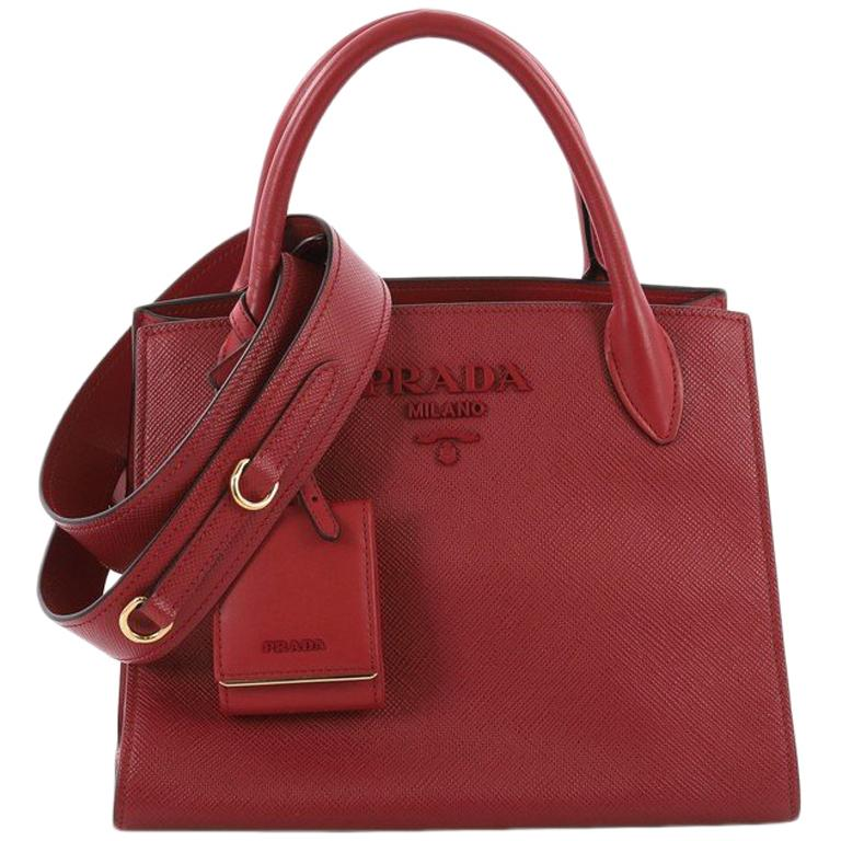 e19ef266e331 Prada Monochrome Tote Saffiano Leather with City Calfskin Small For Sale