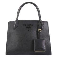 8290215f80928d Prada Monochrome Tote Saffiano Leather with City Calfskin Small