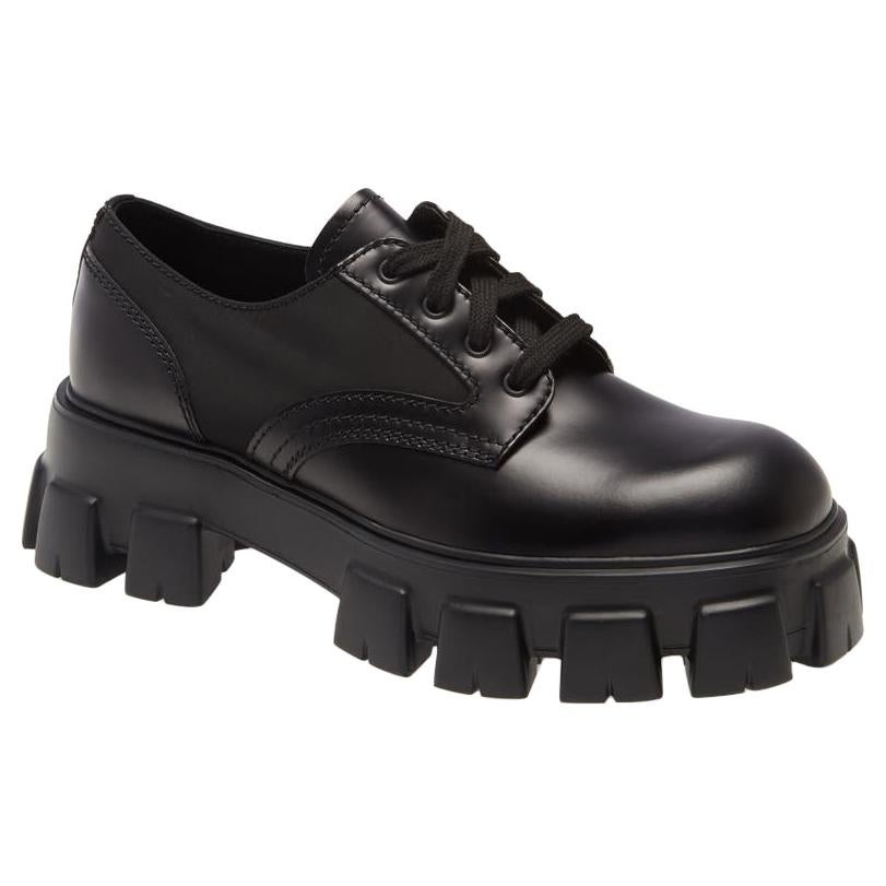 Prada Monolith Leather Lace-Up Derby Shoes (US 10)