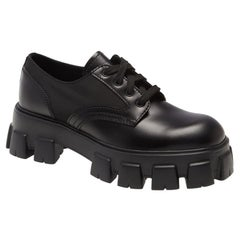 PRADA Monolith Leather Lace-Up Derby Shoes