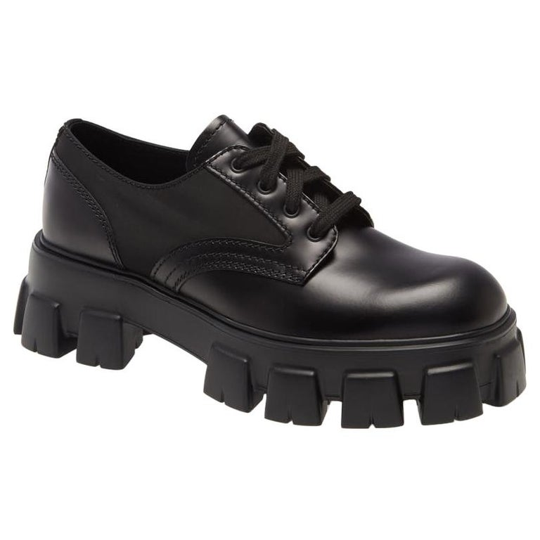 Prada Monolith Leather Lace-Up Derby Shoes (US 10) For Sale