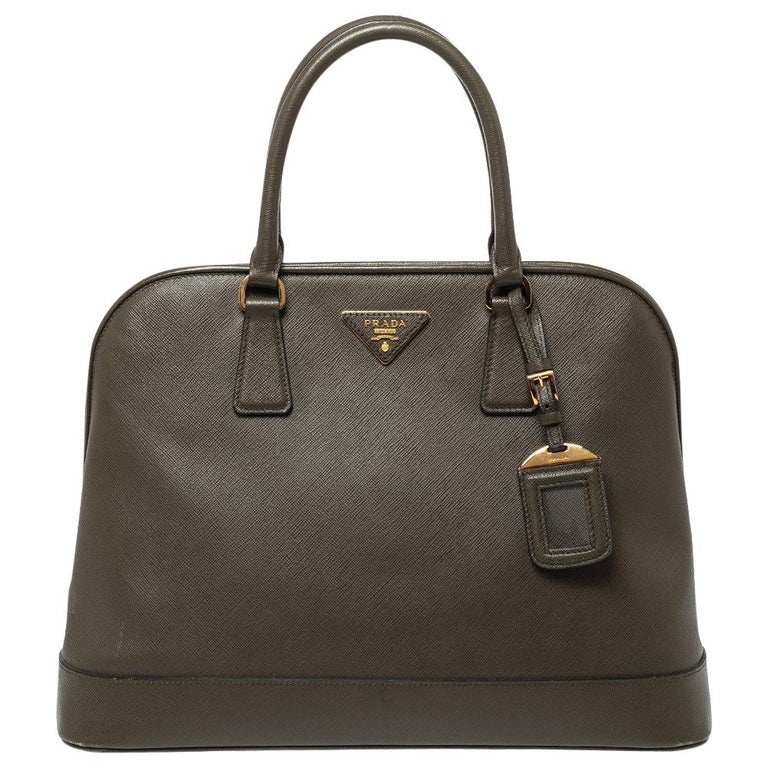 Prada Moose Green Saffiano Leather Dome Satchel For Sale