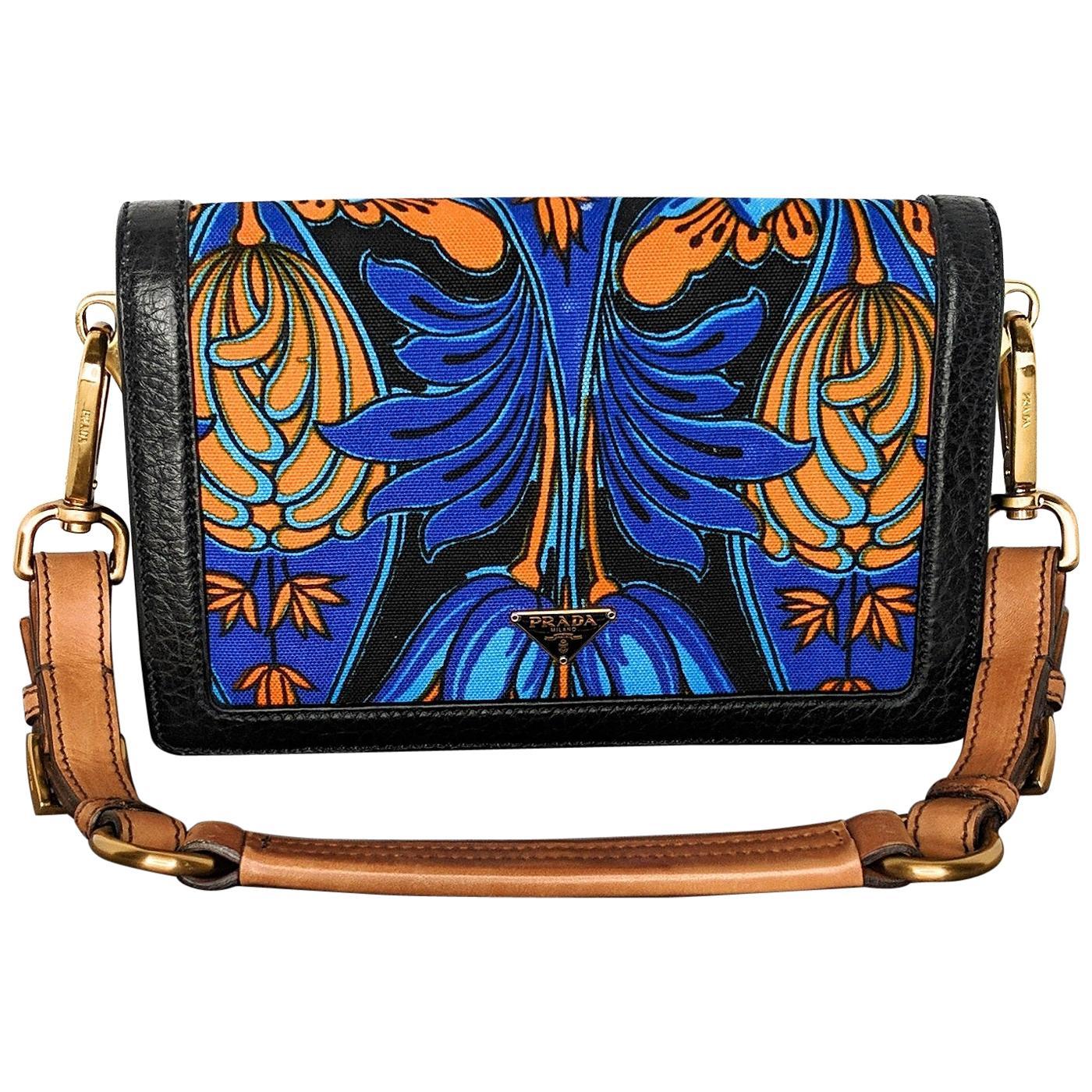 Prada Multi-color Cloth Tropical Motif Print Shoulder Clutch Bag